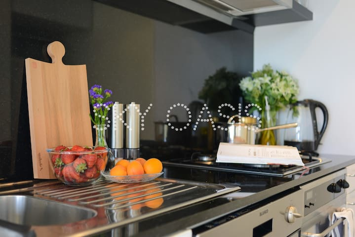 Modern kitchen with appliances and all equipments you need
