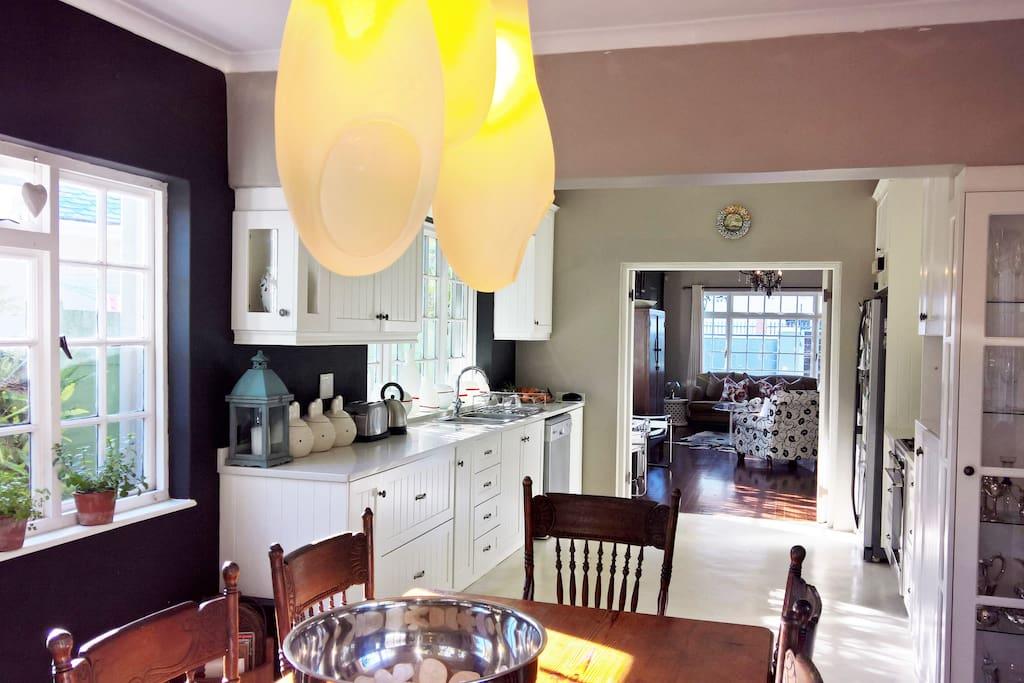 Kitchen onto open plan lounge
