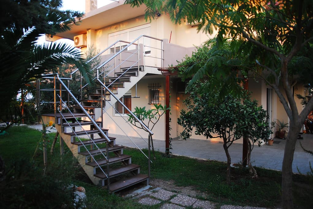 The stairway leading to the apartment