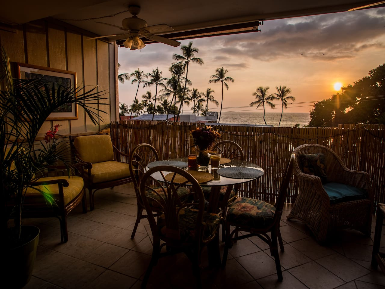 Comfortable Lanai, great view for wonderful meals at sunset.  Shades for the afternoon when the sun shines in.