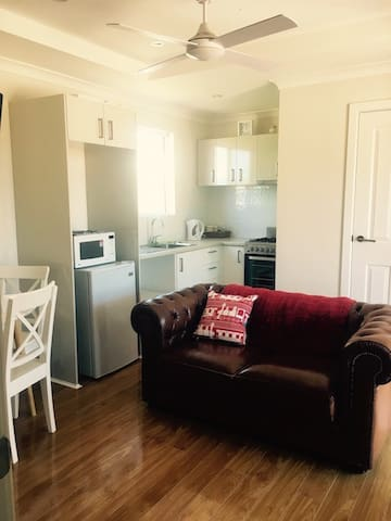 Plenty of room for a couple to have a relaxing time, cook a meal on the full size stove or watch TV.