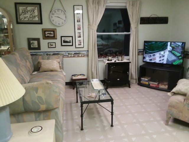 TV with several premium channels, large overstuffed couch, electric firestove, & view of the water.