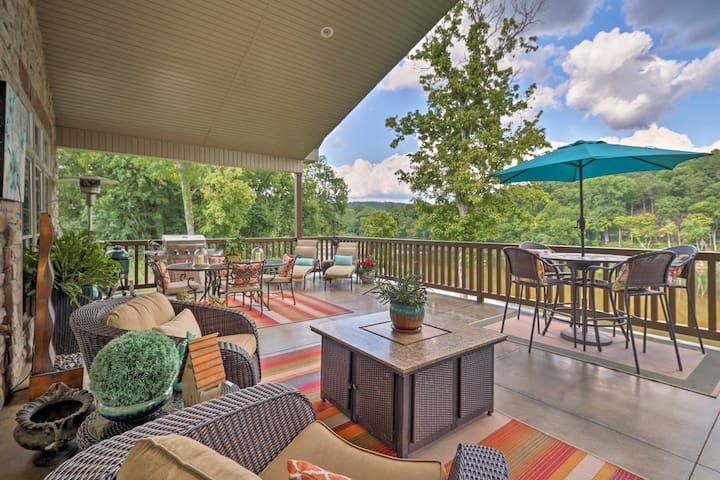 NEW! Riverfront Mountain Home w/ Spacious Deck!