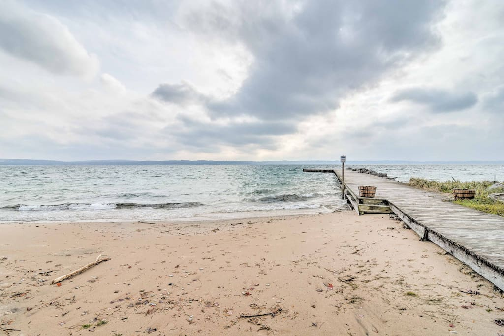 A 10-minute stroll from the home lies a private beach along Little Traverse Bay.