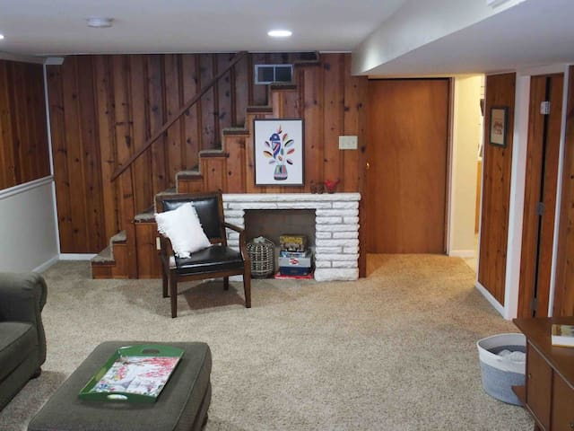 We have provided some fun games for you and your group to enjoy. The original knotty pine walls provide a unique cabin feel.