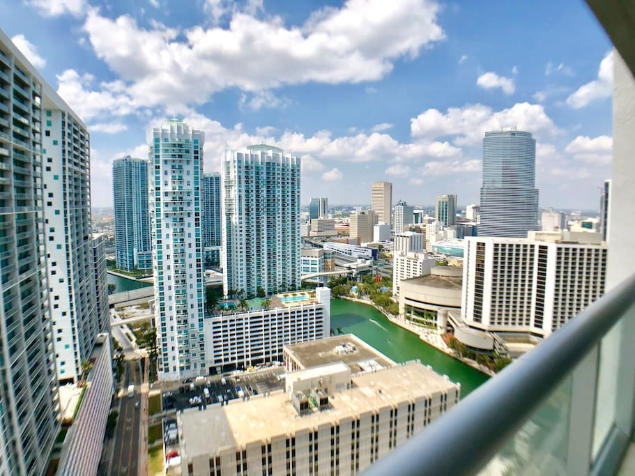Miami city views from balcony