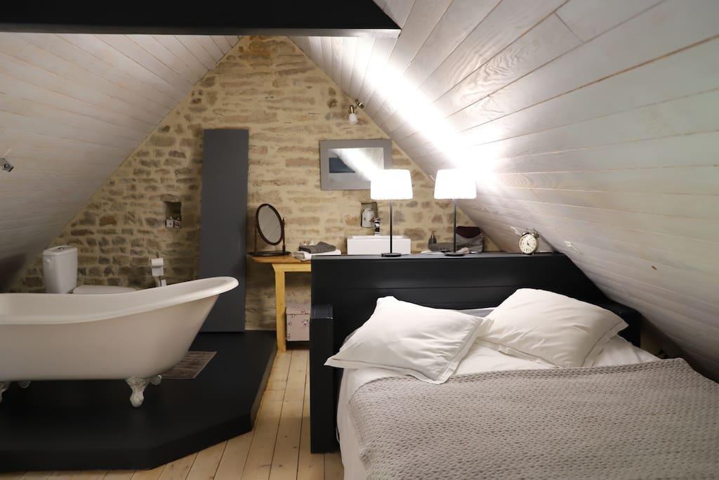 Chambre et espace salle de bain