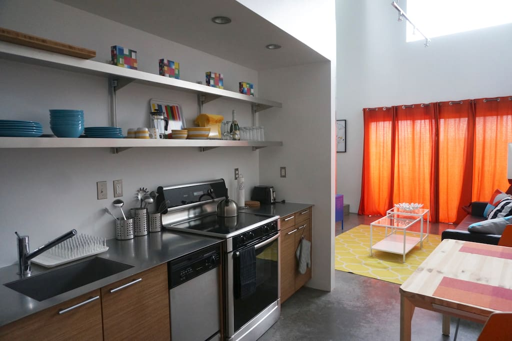 Kitchen and small dining table.
