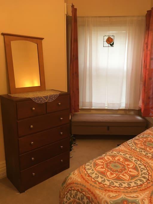 Bedroom dresser and bay window