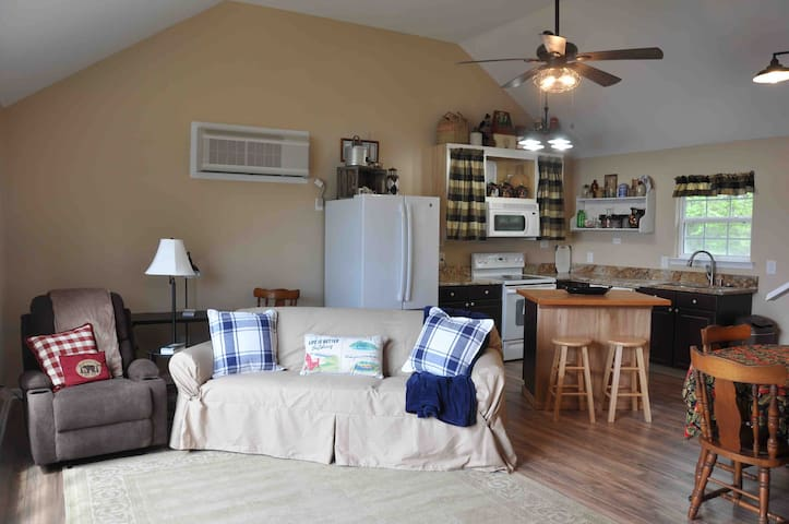 Open floor plan with sleeper sofa for extra guests