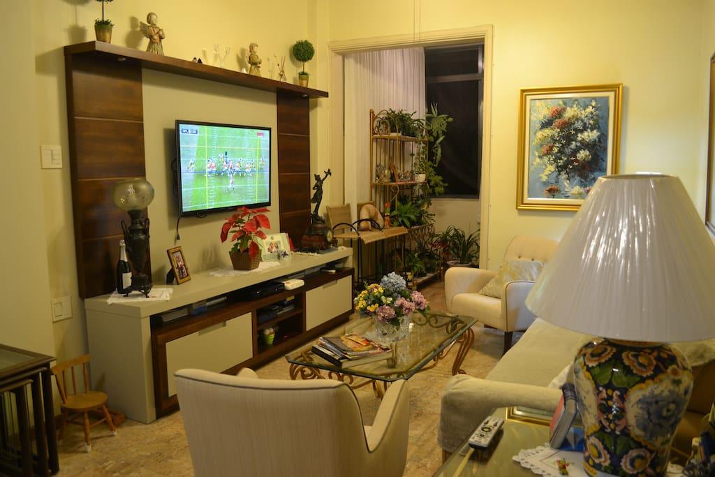 Sala de TV e ao fundo jardim vertical.