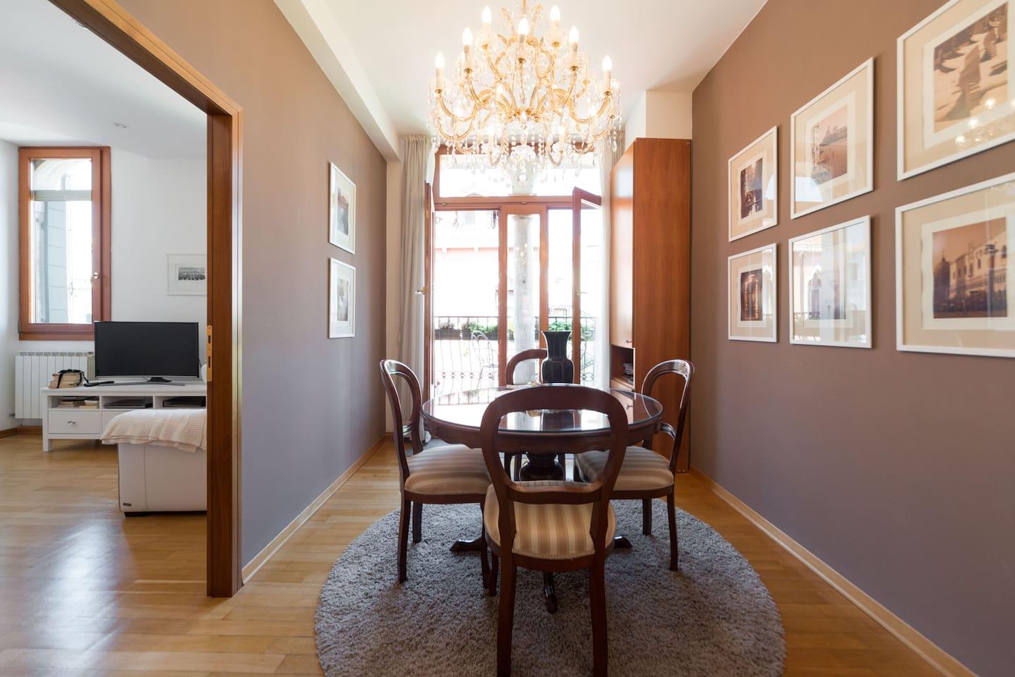 Dining room with Swarovski crystal chandelier