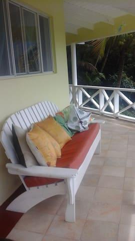 Relaxing veranda overlooking hills