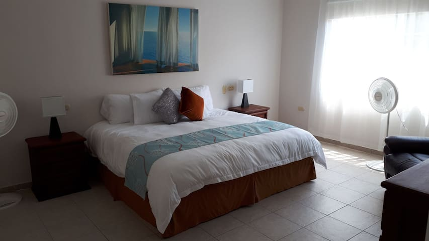 Room #1 - Lovely king sized bed in a large, airy bedroom  with lots of room to spare.  It has a very big closet and many drawers that are empty for you to fill.  You'll also love the adjoining bathroom.