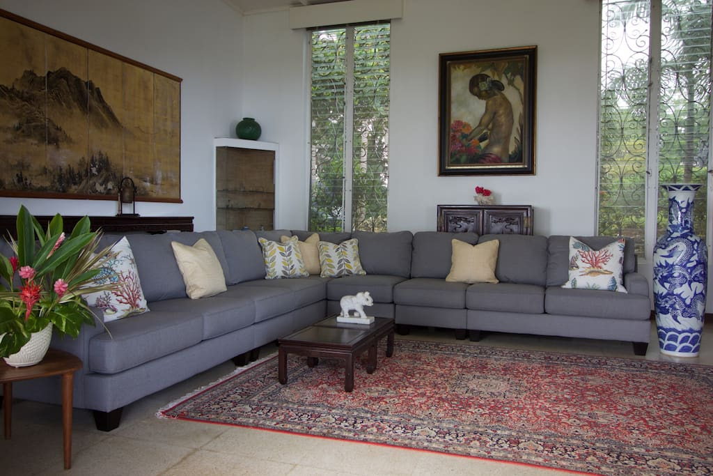 Elegant living room with Asian accented decor