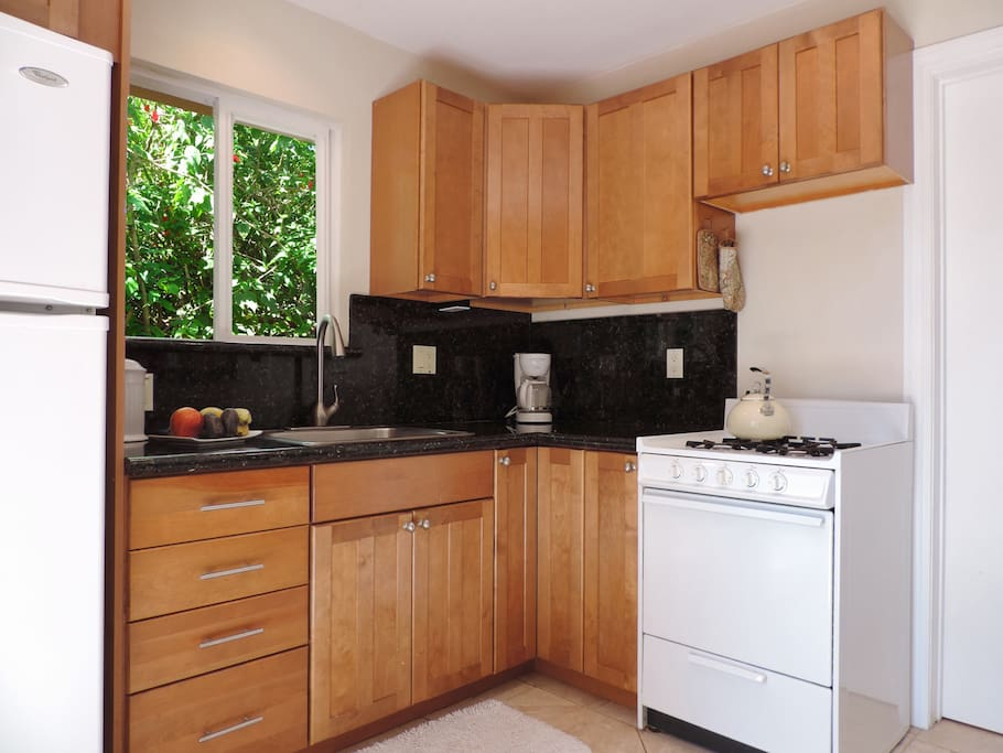 Full kitchen with gas stove and granite counter tops.  Full size fridge.