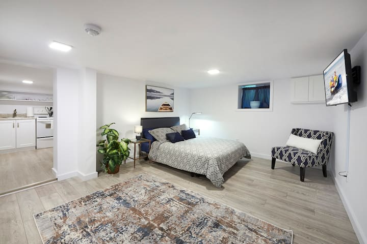 Large open concept living with a Queen Bed, Smart TV , Desk area.