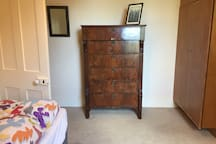 Chest of drawers and cupboard for hanging clothing