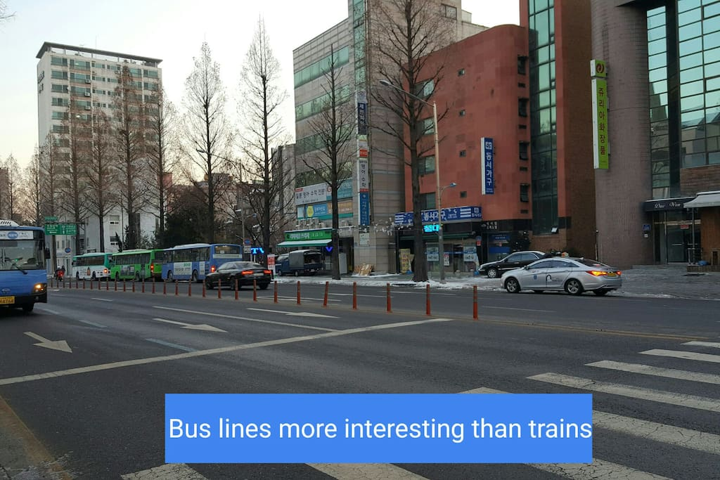 It takes 46 to 50 minutes by bus to Yonsei University (including 14 minutes on foot)  SNU : 60 minutes by bus