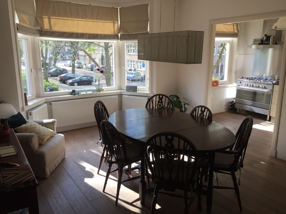 Dining room with open kitchen area