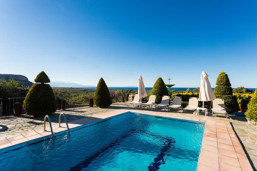 The pool terrace is equipped with sun beds and umbrellas!