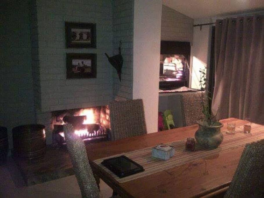 Inside braai & fire place for the cold & cozy winter evenings.