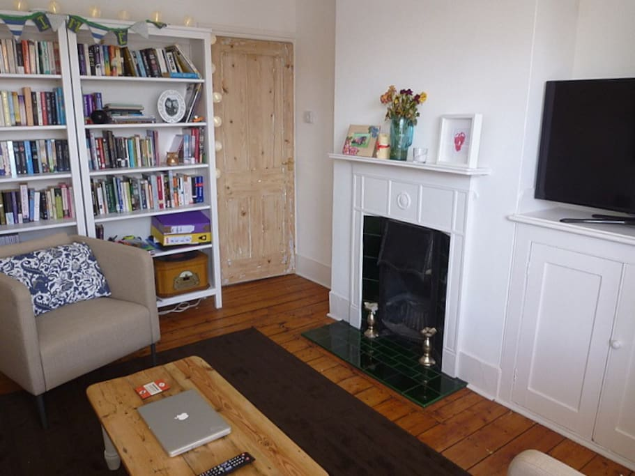 Period fireplace with widescreen TV & superheats 70mb Fibre WIFI throughout house