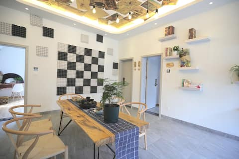 [Heating room · Moonvalley house] Chinese beauty institute designer minsu Mingyue mountain warm soup ancient well spring street tianmu hot spring 4F five-bedroom two-hall minimalist art style