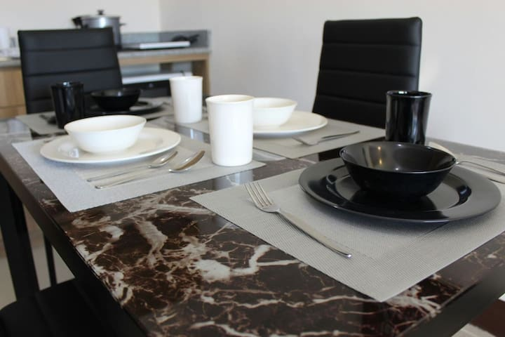 Dine like a King and Queen with our Elegant Black & White Dining Set!