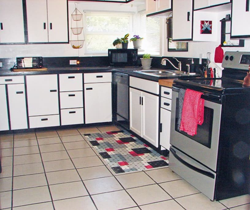 We had fun remodeling this kitchen with a retro look