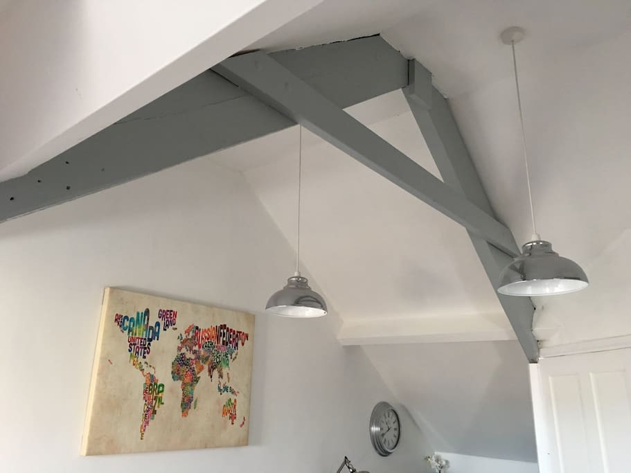 Vaulted ceiling gives feeling of space
