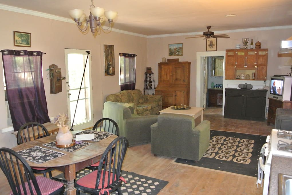 The Living room of the Main Bunkhouse with kitchen and dining area combined is huge.  Size does matter.