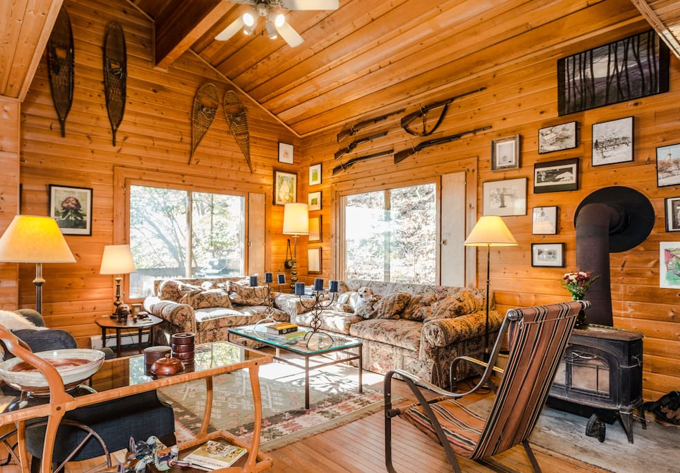large great room with wood stove.