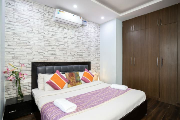 2BHK W woods, living room,  balcony, bonfire, BBQ,