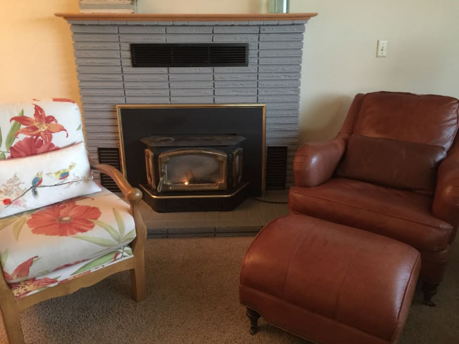 Toasty warm gas fireplace and comfy chairs