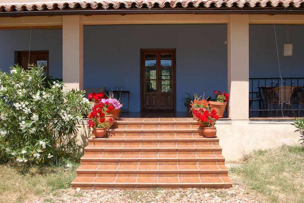 Steps to the front door and lovely covered terrace.