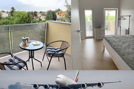A brand new room with balcony near Chopin airport.