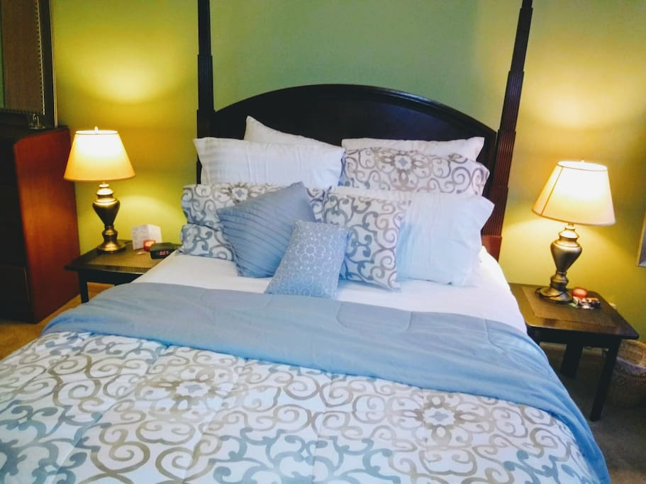 Queen Size Master Bed. Two night stands
