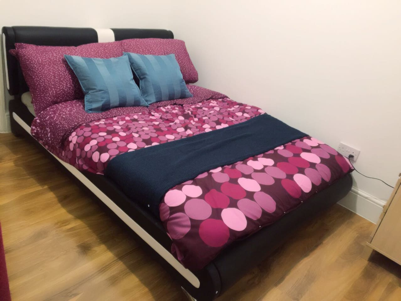 Dressed Italian double bed and part of newly laminated special floor