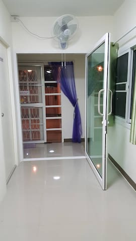 spacious well-lit internal entrance