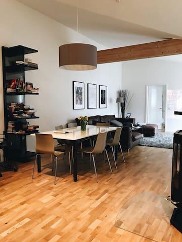 Penthouse Bedroom w/ Fireplace & Terrace in Mitte