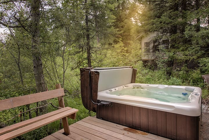 Hot tub off of the new Brazilian Walnut deck.