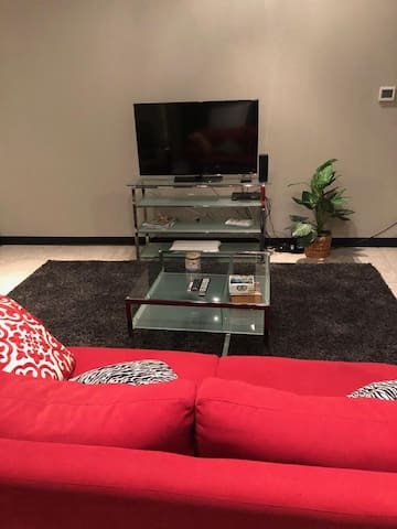 46 inch flat screen TV with various streaming options.