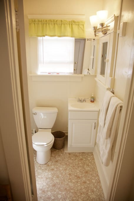 Conveniently, sink and toilet are separate from shower area.
