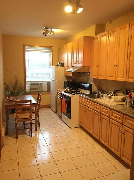 Full size bright kitchen.