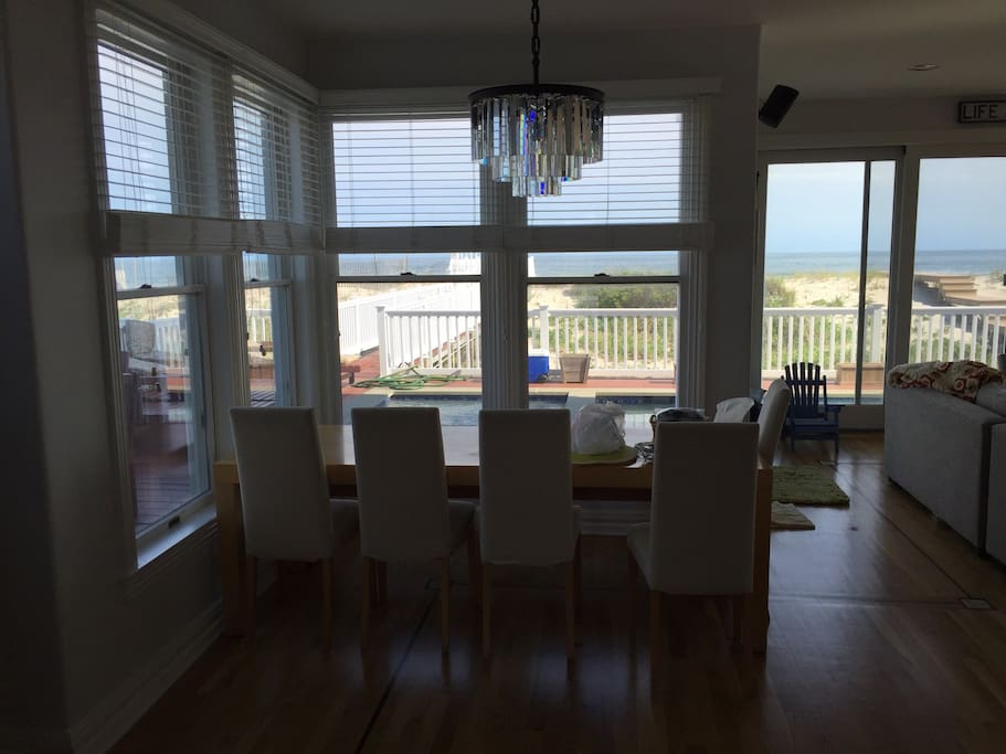 Dining room and view of beach and ocean.