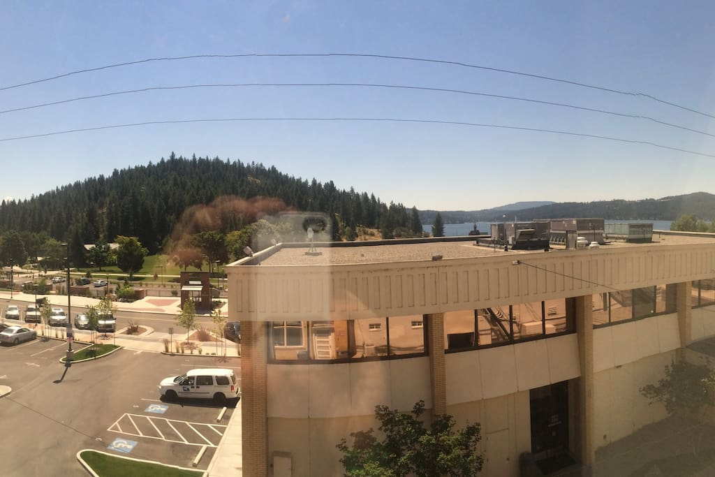 View from left window of Tubbs Hill and McEuen Park
