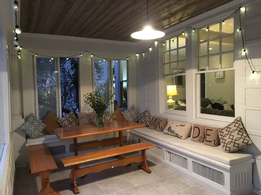 Enclosed porch for year round entertaining!