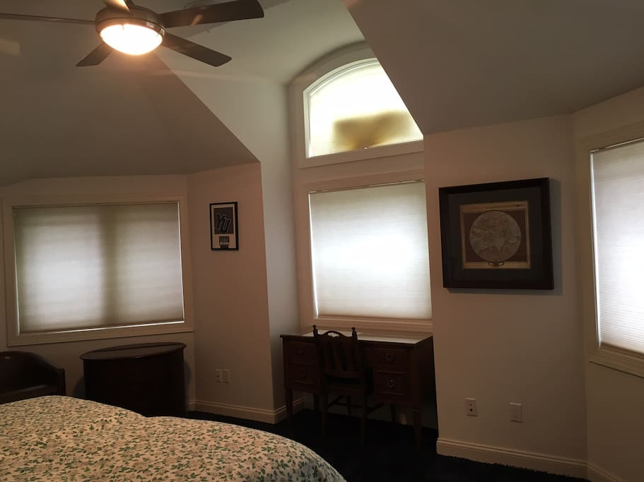 Bedroom with high ceilings and lots of windows, ceiling fan.