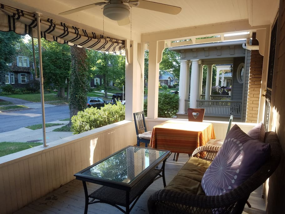 The porch is a great place to enjoy a summer evening